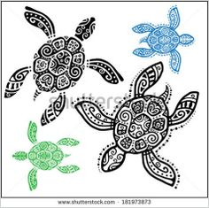 Decorative graphic turtle, tattoo style, totem animal, tribal pattern set, vector illustration