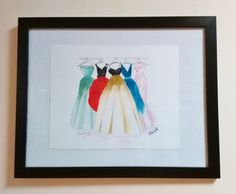 Original watercolor fashion illustration painting. I have painted fancy ball gowns hanging from a rack using watercolours, high quality