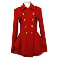 Coats Red Military Double Skirt Hem Woolen Coat - LoLoBu