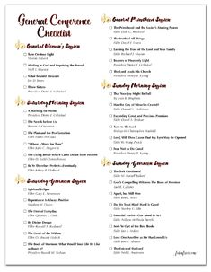 Nov 2017, Free Printable General Conference Checklist from October 2017
