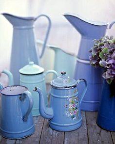 shades of blue enamelware
