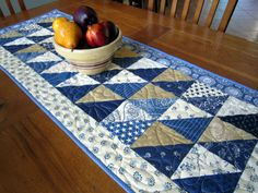 Blues and Neutrals Country Table Runner by QuiltedbyTommyD on Etsy, $55.00