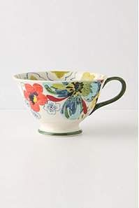 I'm slowly building a collection of Anthropologie teacups.  Love the patterns and colors.