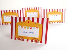 Circus Party Kit ~ Food Tents Carnival Themed Party, Circus Party, Party Themes, Party Ideas, Food Tent, Tent Cards, Party Kit, Winter Wonderland, Compliments