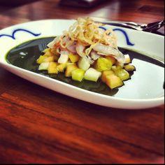 Shrimp Ceviche, Fishsauce Fruit & Jicama Salad, Herb Cucumber Consume.