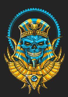 Egyptian Gods and Mythology Dark Fantasy Art, Tatoo Crane, Wallpaper Bonitos, Egypt Tattoo, Skull Pictures, Skull Artwork, Illustration Vector, Skull Wallpaper, Samurai Art