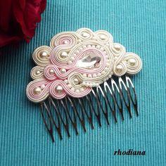 Ecru & Powder Pink Soutache comb  Wedding Hair by RhodianaSoutache