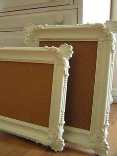 Look for frames at the thrift store, buy cork roll, make cork board(s).