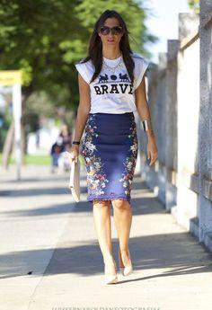 Mirror pencil skirt and slogan t