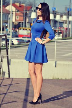 Ivon-shop Blue Lovely 3/4 Sleeve Length Skater Dress