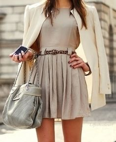 A blazer teamed with a cute dress is both smart and hot at the same time.