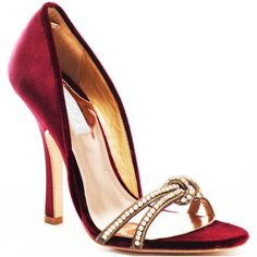 Badgley Mischka Halma Heel - Burgandy Satin found on Polyvore