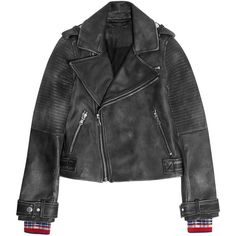 Marc by Marc Jacobs Washed-leather biker jacket (£335) ❤ liked on Polyvore featuring outerwear, jackets, black, genuine leather jackets, slim fit biker jacket, leather jackets, rider leather jacket and leather biker jacket