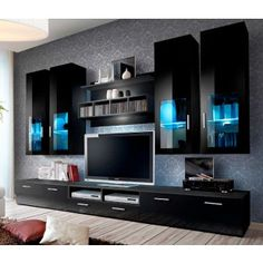 Modern Tv Room Designs Ideas With Presto Modern Wall Unit Entertainment Centre Spacious and Elegant Furniture TV Cabinets TV Stands for Modern Living Room (Black) - Home Garden Tv Cabinet Design, Tv Unit Design, Tv Wall Design, Modern Tv Room, Modern Tv Wall Units, Modern Wall, Modern Living, Modern Tv Cabinet, Small Living
