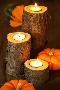 easy fall candle project, carpentry  woodworking, diy home crafts, repurposing upcycling, seasonal holiday d cor, tools, Here is the finished product Put the tea light candles in your drilled hole Add seasonal gourds to taste