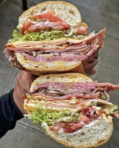 Delicious looking sandwiches filled with ham, turkey, salami, salad, cheese and tomatoes. Almost like subway sandwiches but better! Empanadas, Cute Food, I Love Food, Yummy Food, Latin Food, Food Porn, Junk Food Snacks, Food Goals, Burger