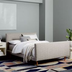 Josef Upholstered Bed - Feather Gray (Deco Weave) | west elm