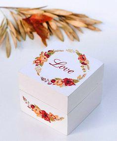 """Свадебные шкатулки для колец ◈ Авторский Киоск Шкатулка для колец """"Autumn Wedding""""    Натуральное дерево, декупаж, ручная роспись"""