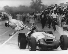 Parnelli Jones leaps for his life during the 1964 Indianapolis 500.