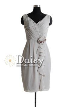2013 VNeck Gray Bridesmaid Dress Short Chiffon by DaisyBridalHouse, $79.00