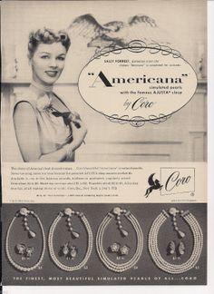 """1953 Coro """"Americana"""" costume #jewelry #vintage #ad"""