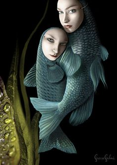 Saara Salmi,fish,pisces,faces,squama,fins,water plant,drops,mask,blue eyes,fish tail,floating,embrace