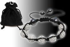 Shamballa Bracelet, 7 Big White Swarovski Crystal 2 Black Onyx Beads- (R49321/G)