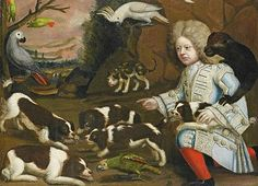 Unknown (Anglo-Dutch)  Boy with Marmoset and Spaniels in a Landscape  Late 17th century