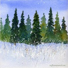 Winter Watercolor With Splattered Acrylic Paint - My Flower Journal