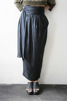 Romeo Gigli Silk Long Skirt w/ Sash by weltenbuerger on Etsy