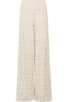 Alice Olivia - Athena Embroidered Silk-voile Wide-leg Pants - Ecru - US10
