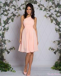 FABIA - Zwiewna midi sukienka na jedno ramie różowa Talia, Strapless Dress, Graduation, Formal, Dresses, Style, Fashion, Preppy, Strapless Gown