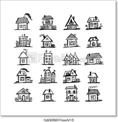 Free art print of Sketch of art houses for your design