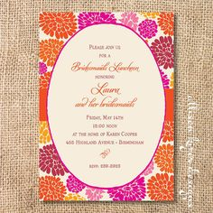 31 best bridal lunch invitations images on pinterest lunch bright summertime floral printable bridal shower invitation zinnias wedding brunch invitation orange hot pink mums luncheon birthday party filmwisefo
