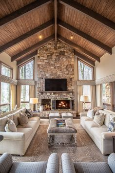 Linville Ridge Home - Rustic - Family Room - Charlotte - by Dianne Davant and Associates Dream Home Design, My Dream Home, Home Interior Design, House Design, Barn House Plans, Dream House Plans, Cabin Homes, Log Homes, Home Living Room