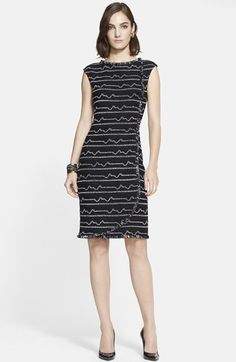 Free shipping and returns on St. John Collection Multi Peak Knit Faux Wrap Dress at Nordstrom.com. Raised and jagged two-tone stripes offer captivating contrast on a shimmering knit dress designed in a fitted shape with a flattering faux-wrap front. Tactile fringe outlines the bold style..