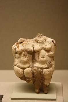 #statue, #woman (two), #goddess and her #daughter?, #standing, #navel, #steatopygous #breasts, #belly, #hips, #buttocks, #thighs, #legs, #lime #plaster. #7000BCE - #6000BCE. #Turkey, #Anatolia. Metropolitan.