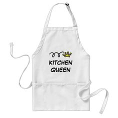 #custom #Kitchen themed  #gifts #apron #logotees -  Kitchen Queen Aprons | Cooking and baking humor with little crown. Customizabe with your own funny text like BBQ Queen.