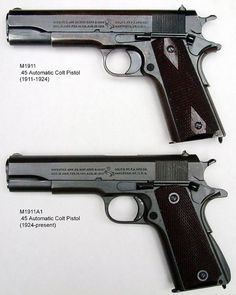 COLT 1911A1 .45 ACP-The M1911 is chambered for the .45 ACP cartridge, which served as the standard-issue sidearm for the United States Armed Forces from 1911 to 1985. The Army 38 would bounce off natives wrapped in bamboo and high on drugs. The Colt 45 did not care & was first used in later stages of the Philippine-US War for which it and the Thompson Submachine gun were developed, and in WWI, WWII, Korea by both sides, and Vietnam. The M1911A1 is still carried by some U.S. Special forces.