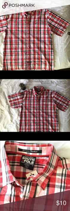 Men's  Authentic Collection South 🛑 Pole Shirt This shirt has one front left pocket with SP logo on the front.  Red black and white. No holes,no tears,or stains New with tags.  Large  100% Cotton South Pole Shirts Casual Button Down Shirts