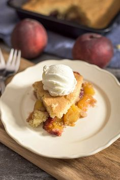 The EASIEST peach cobbler ever! You can serve it almost like a pie. A real foolproof recipe! - giverecipe.com