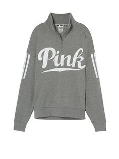 Victoria Secret PINK Slouchy Quarter Zip Hoodie In Clay Grey! I Like The Color And Style Of The Hoodie.
