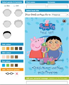 Your child and Peppa go to Playgroup - create your child as a peppa character.