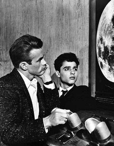 James Dean and Sal Mineo on location at the Griffith Observatory during the filming of Rebel Without A Cause, 1955.