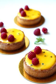 passionfruit and raspberry tart.
