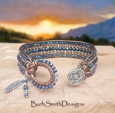 "Blue Beaded Wrap Bracelet-Charm Bracelet-Metallic Leather-Boho-Tribal-Custom Sizes-""Cactus Blossom"" in Picasso Sapphire (CB-PSL) Leather Jewelry, Beaded Jewelry, Beaded Bracelets, Wrap Bracelets, Leather Bracelets, Necklaces, Bracelet Sizes, Bracelet Patterns, Picasso Blue"
