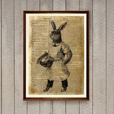 Cabin decor Rabbit poster Animal art Hare print WA846