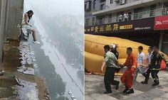 Woman saved by cushion after falling 18 storeys in China | Daily Mail Online