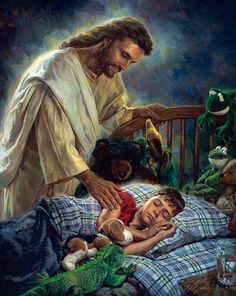 Jesus with sleeping child...yo te protejere y velare tu sueño ...