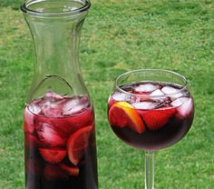 Summer Berry Sangria - 8 oz. Red Wine (any flavor), 2 oz. any Berry Liqueur, 2 oz. Triple Sec, 4 oz. Blueberry Juice (Ocean Spray), 4 oz. 7-Up, 1 cup of any Berries, Several Lemon or Orange slices, 1 cup of Ice